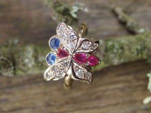Ruby, sapphire and diamond ring.